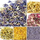 (6 pack) - bMAKER Bulk Botanical Flowers Kit (6pack) Edible & Kosher Certified 1.5 cups each of Jasmine, Cornflowers, Lavender, Marigold, Chamomile and Pink Rose Buds & Petals, 2ml of Rose Absolute Essential Oil