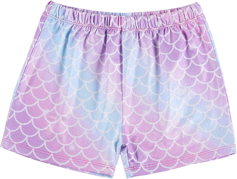 Sylfairy Girls Sparkle Dance Tumbling Athletic Gymnastics Short Rainbow Unicorn Dance Shorts for 3-10Years