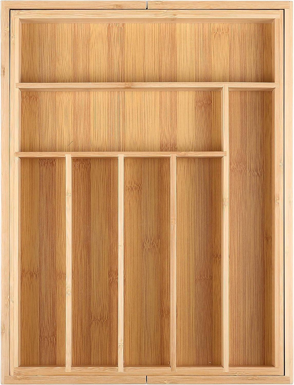 9 F/ächer Gr/ö/ßenverstellbar 33,7-50 x 44,5 x 5 cm Edaygo Besteckkasten Schubladeneinsatz Schubladenbox Organizer B x L x H Bambus 7