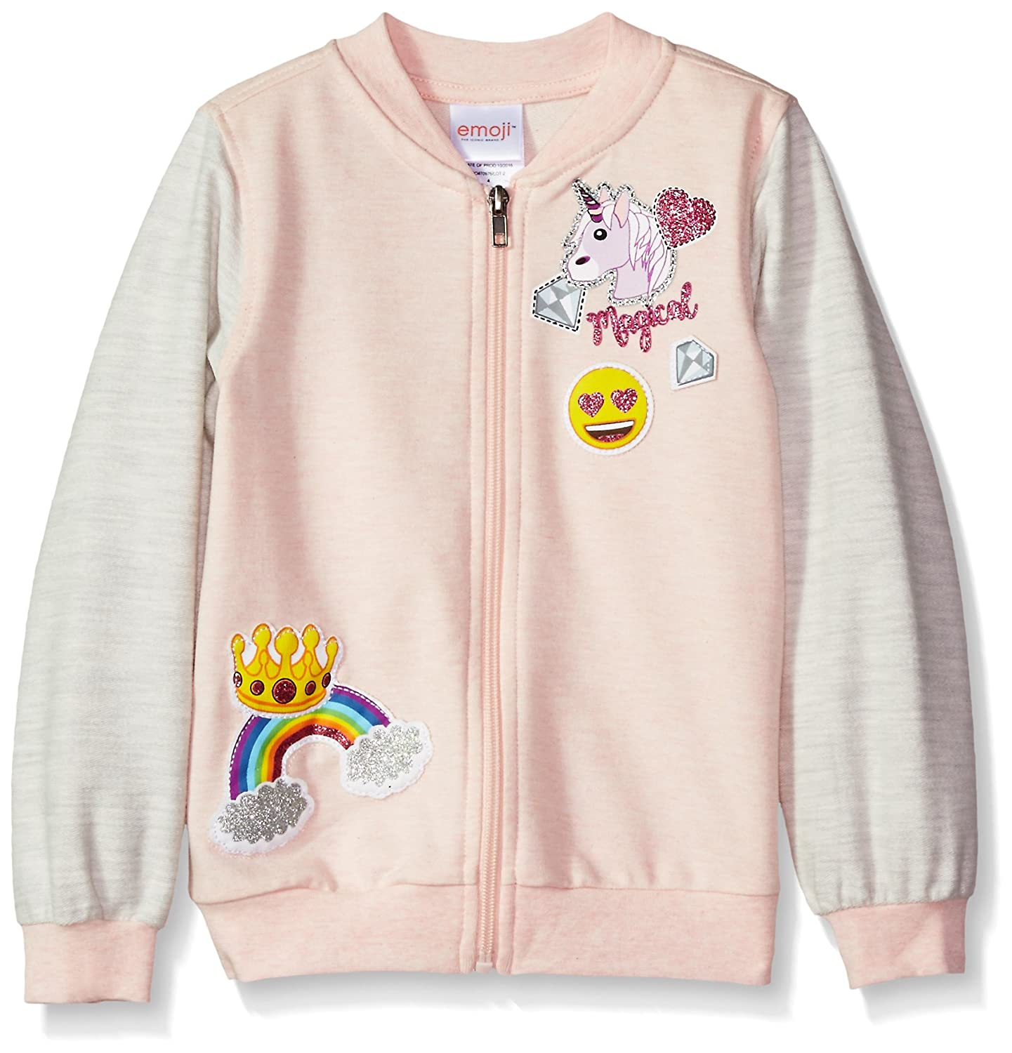 Emoji girls Little Girls Varsity Jacket With Glitter Patches Soft Pink 4 737209EJB