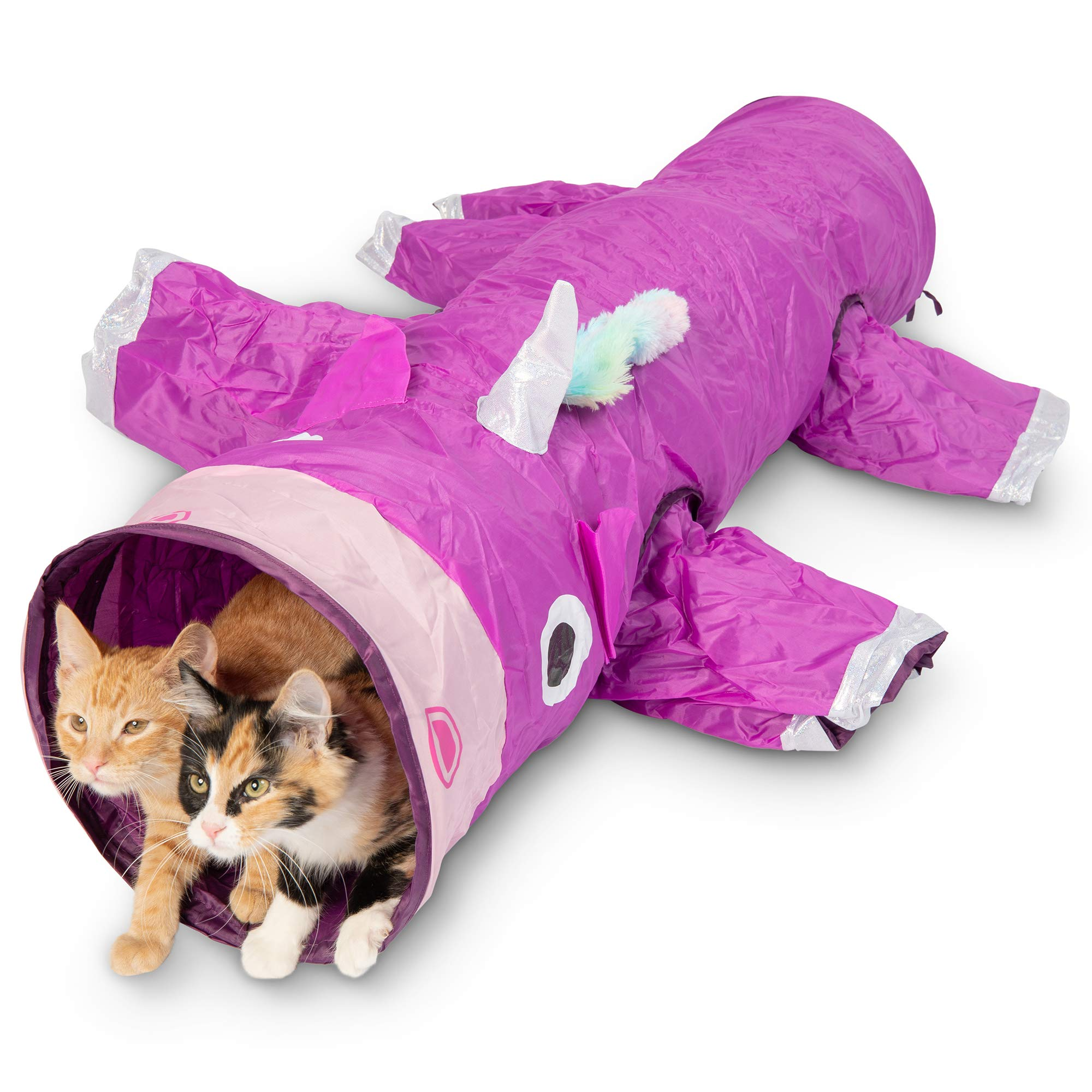 Pet Craft Supply Magic Mewnicorn Multi Cat Tunnel Boredom Relief Toys with Crinkle Feather String for Dogs, Cats, Rabbits, Kittens and Guinea Pigs for Hiding Hunting and Resting