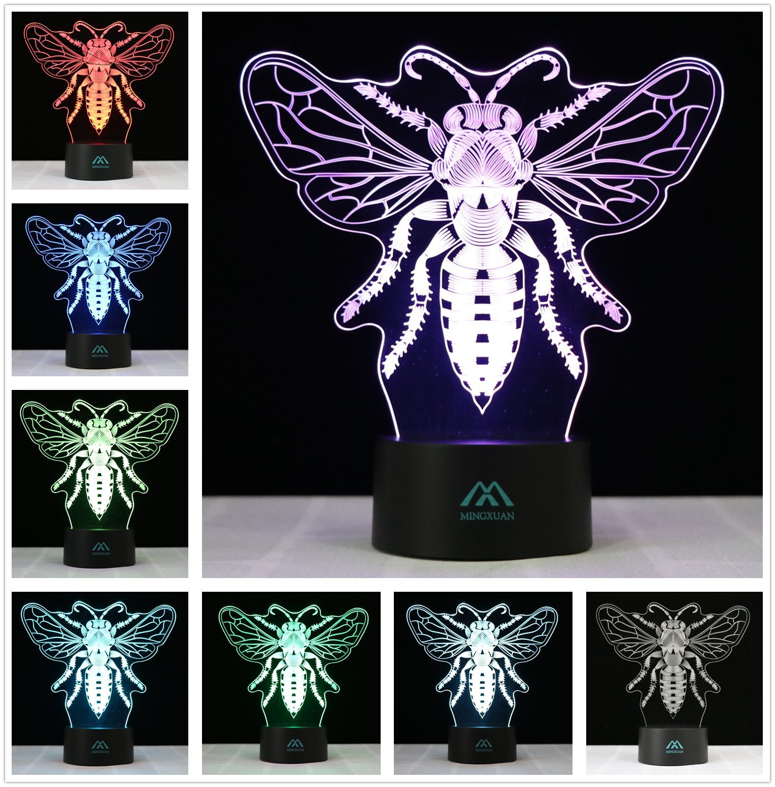 3D Illusion Animal Drosophila LED Desk lamp 7 Color Touch Night Light? Kiddie Children Family Holiday Gift Home Office Childrenroom Theme Decoration by MINGXUAN… by MingXuan
