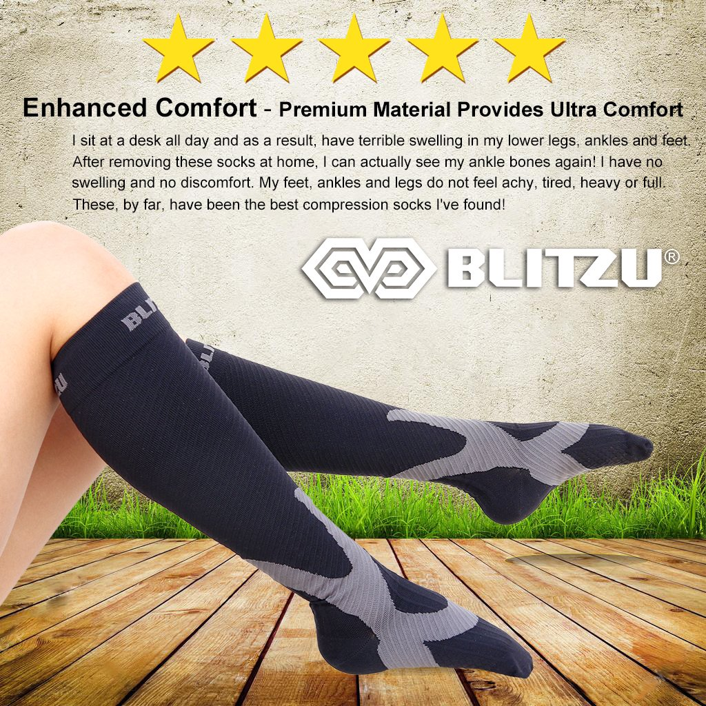 aea35f157 Amazon.com  BLITZU Compression Socks 20-30mmHg Men Women Recovery Running  Medical Athletic Edema Diabetic Varicose Veins Travel Pregnancy Relief Shin  ...