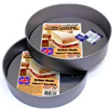 WonderBake Sandwich Cake Tins, Set of 2, Loose Base 7 Inch, Teflon Non Stick by Lets Cook Cookware