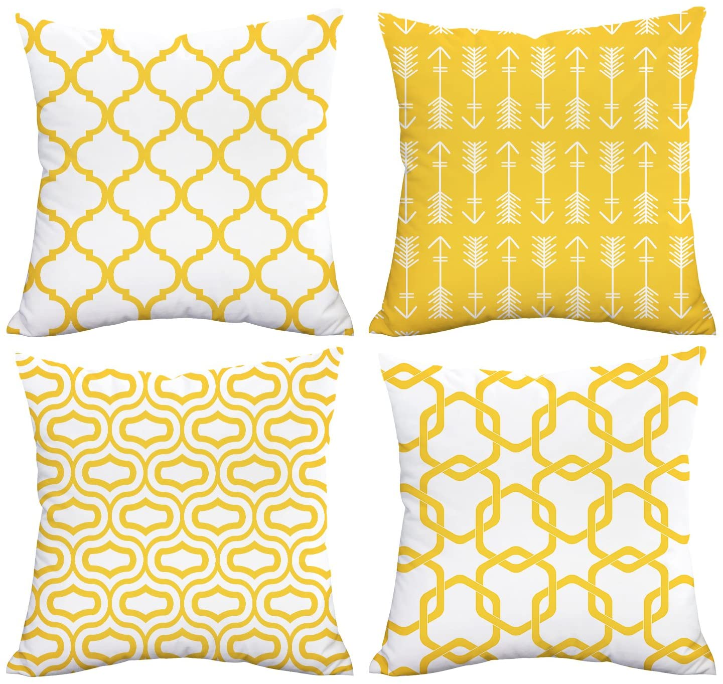 Amazon Com Lemon Yellow Throw Pillow Case Arrow Quatrefoil Accent Trellis Chain Pillow Cover Modern Cushion Cover Square Pillowcase Decoration For Sofa Bed Chair Car Set Of 4 18 X 18 Inch Kitchen