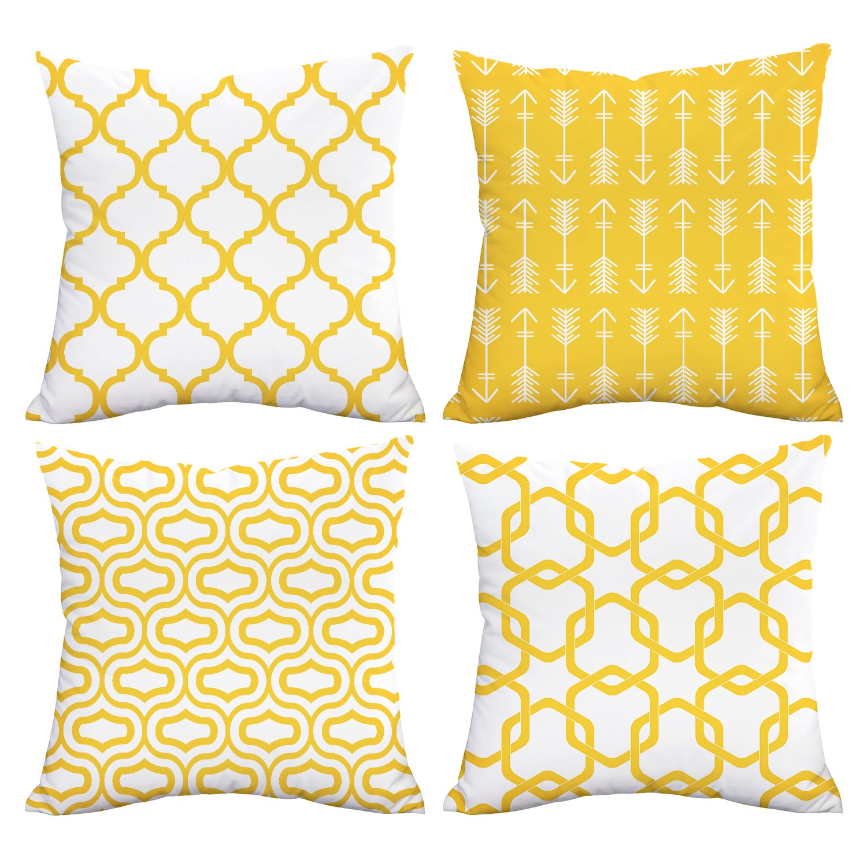 Lemon Yellow Throw Pillow Case Arrow Quatrefoil Accent Trellis Chain Pillow Cover Modern Cushion Cover Square Pillowcase Decoration for Sofa Bed Chair Car Set of 4, 18 x 18 Inch