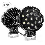 Nilight Barra de luz LED, 2 piezas, 17,78 cm, 51 W, 5100 lúmenes, color negro, redondo, para techo de coche, para Jeep...