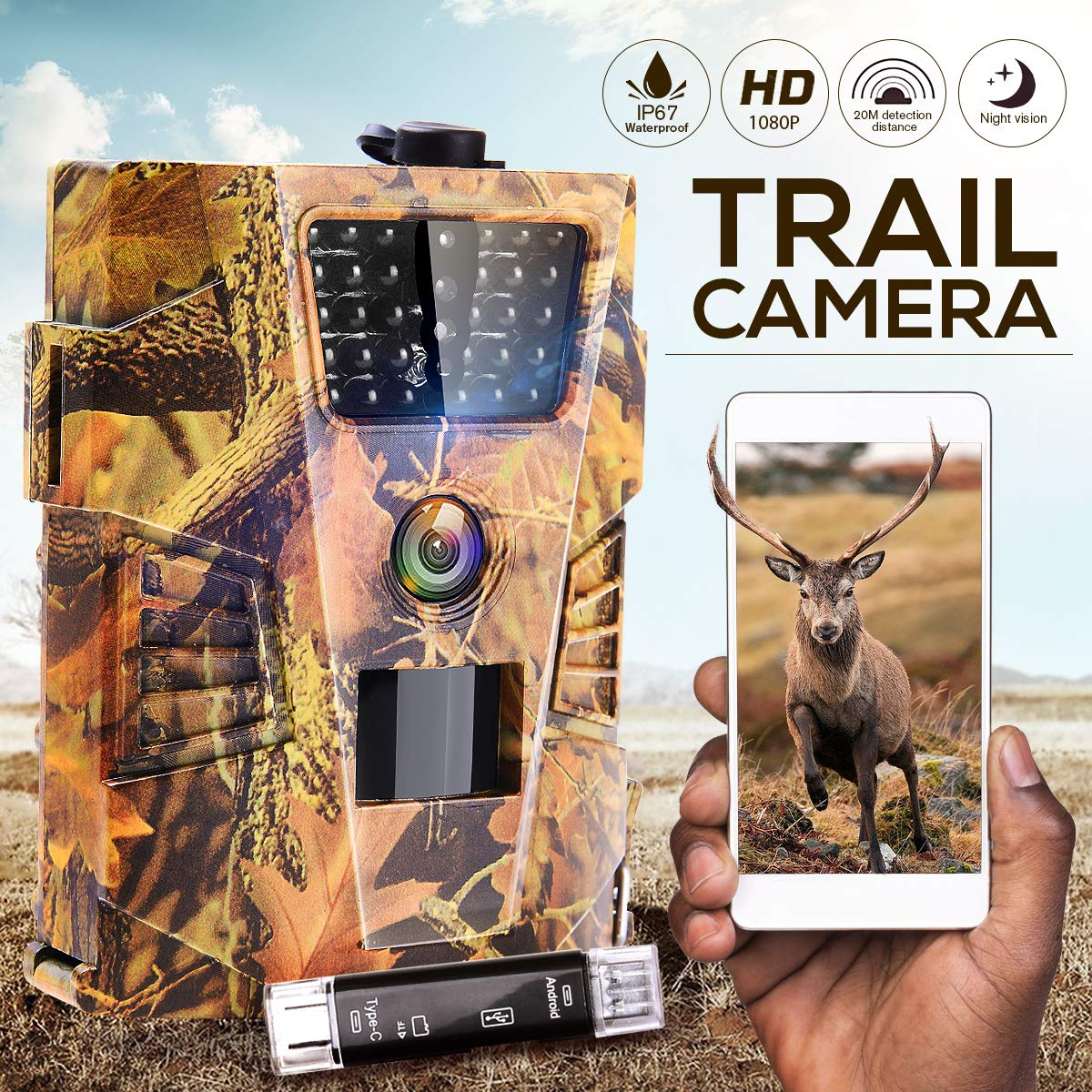 IPS IP SMART Trail Camera Game Camera 1080P Hunting Camera IP67 Waterproof HD Scouting Cam Night Vision 65ft Outdoor Motion Camera Wildlife Animal