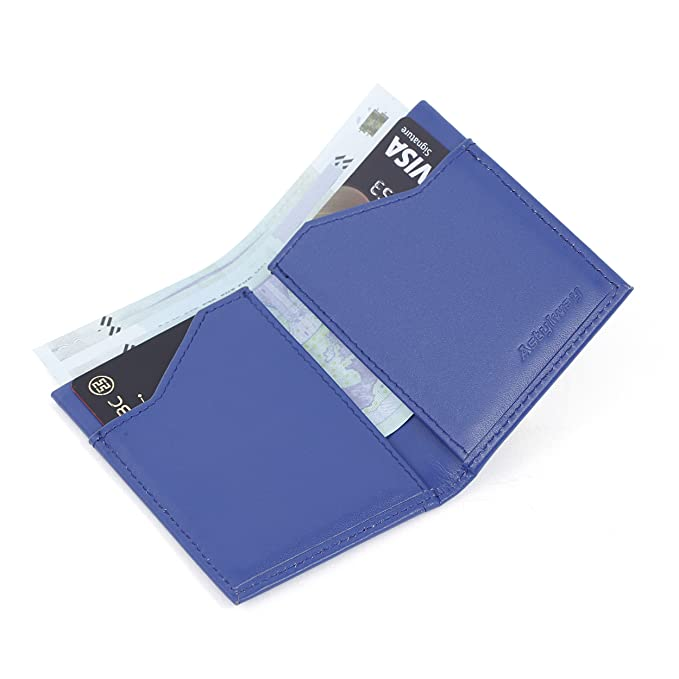 YRTECH Cartera frontal de bolsillo para hombres Bloqueo RFID Tarjeta de crédito Cartera de cuero genuino (Delgado-Azul): Amazon.es: Equipaje