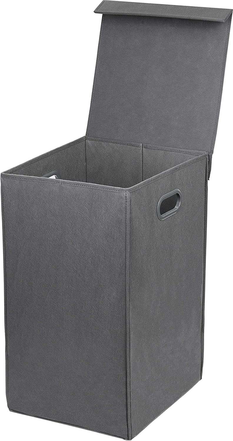 Simple Houseware Foldable Laundry Hamper Basket with Lid, Dark Grey