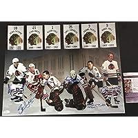 $199 » Stan Mikita Bobby Hull Tony Esposito Denis Savard Pierre Pilote Glen Hall Chicago Blackhawks Autographed Signed 16x20 JSA…