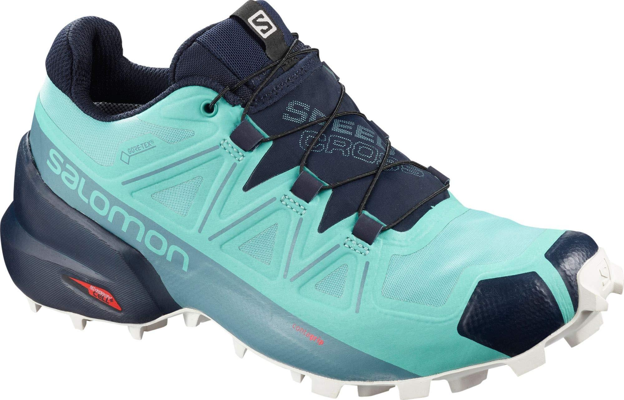 Salomon Women's Speedcross 5 GTX Trail Running Shoes, Meadowbrook/Navy Blazer/White San, 6.5 by SALOMON