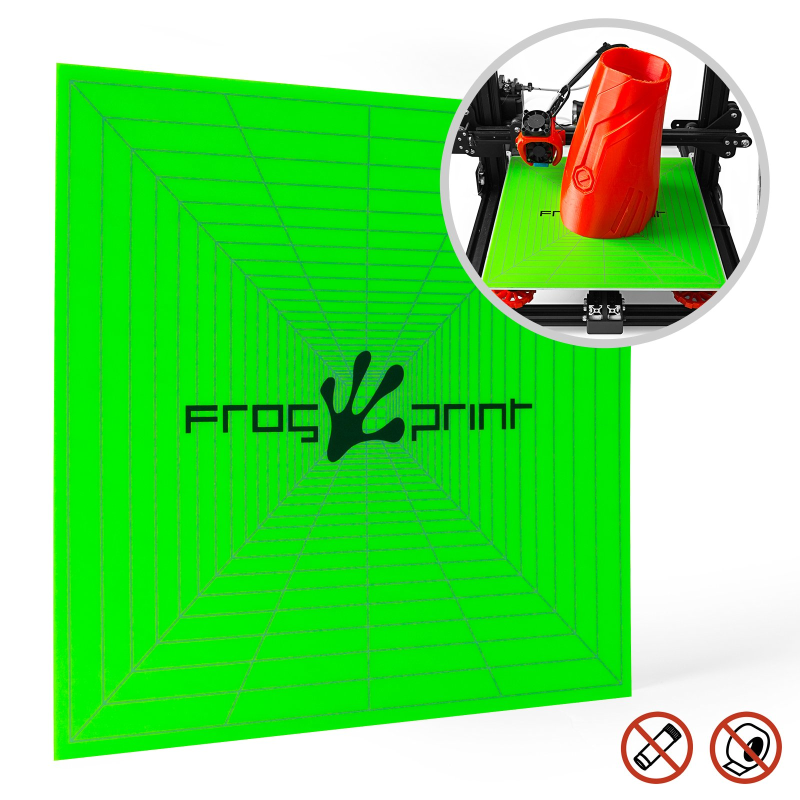 "Frog Print 3D Premium Printing Build Surface for Perfect Prints / 12"" x 12"" (310mm X 310mm) with 3M Adhesive Backing. Can be Cut for All 3D Printers Including: Makerbot/Lulzbot / CR-10 / CR-10S by Frog Print 3D"