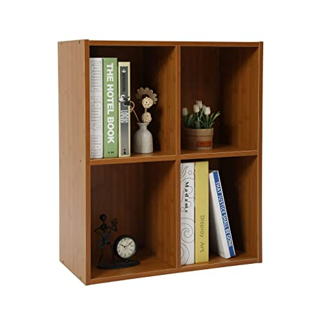 Home Straightforward Adjustable 3/ 4 Shelf Bookcase Storage Bookshelf Wood Furniture Book Shelving 4 Color For Choose