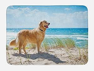 "Lunarable Dog Lover Bath Mat, Golden Retriever on a Sandy Dune Overlooking Tropical Beach Ocean Outside Sky, Plush Bathroom Decor Mat with Non Slip Backing, 29.5"" X 17.5"", Green Camel"