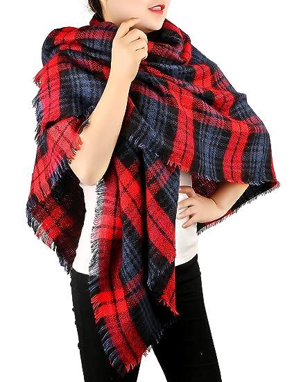 f841438eb7c Women Plaid Blanket Scarf Winter Warm Square Oversized Tartan Shawl Wraps
