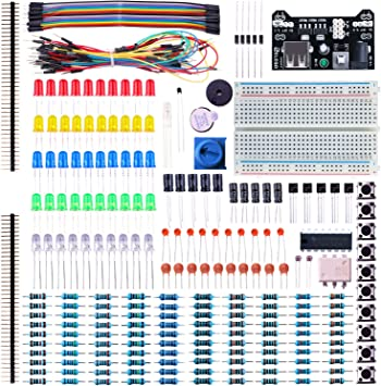 Electronic Component Base Fun Kit Bundle W Breadboard Cable Resistor Capacitor L