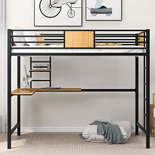 SOFTSEA Twin Metal Loft Bed Frame
