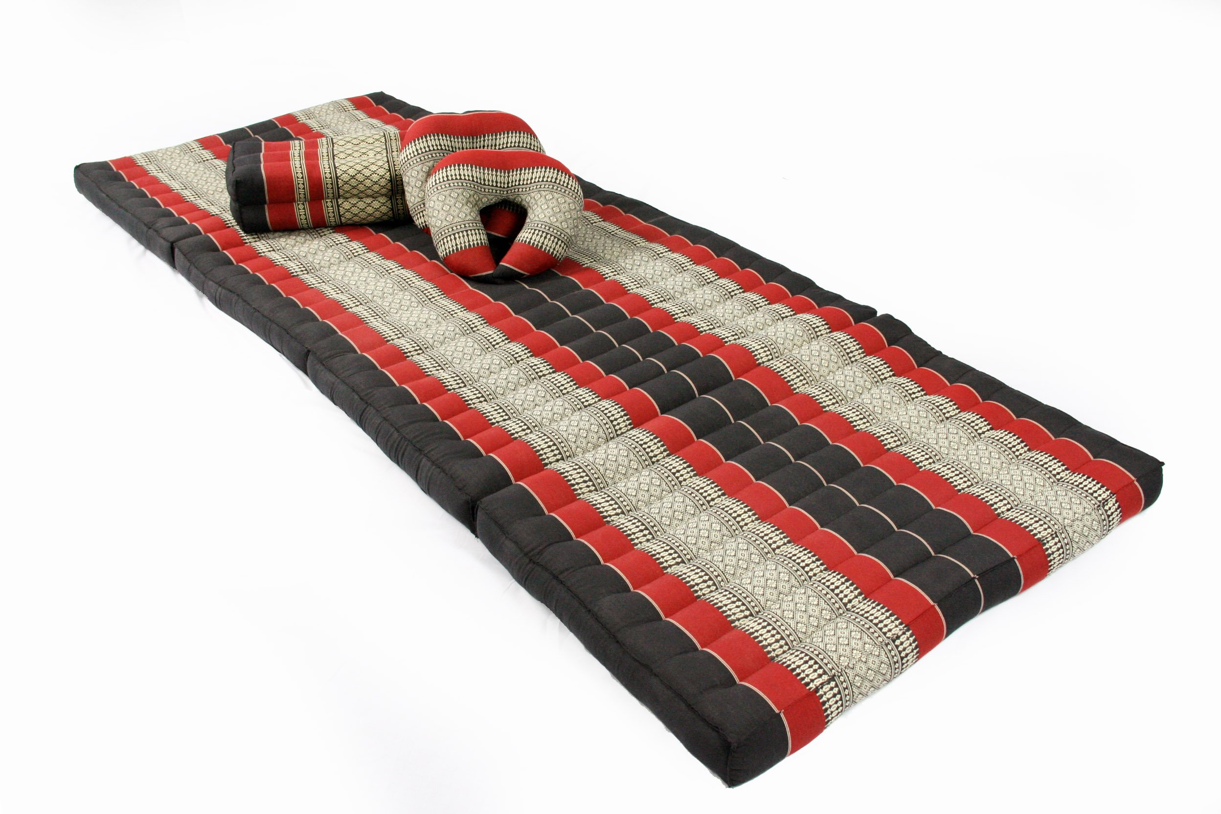 Thai Massage Set II: Foldable Matress 78x31 inches + 3 support cushions, Traditional Thai Design, kapok-filled, black/red by Handelsturm