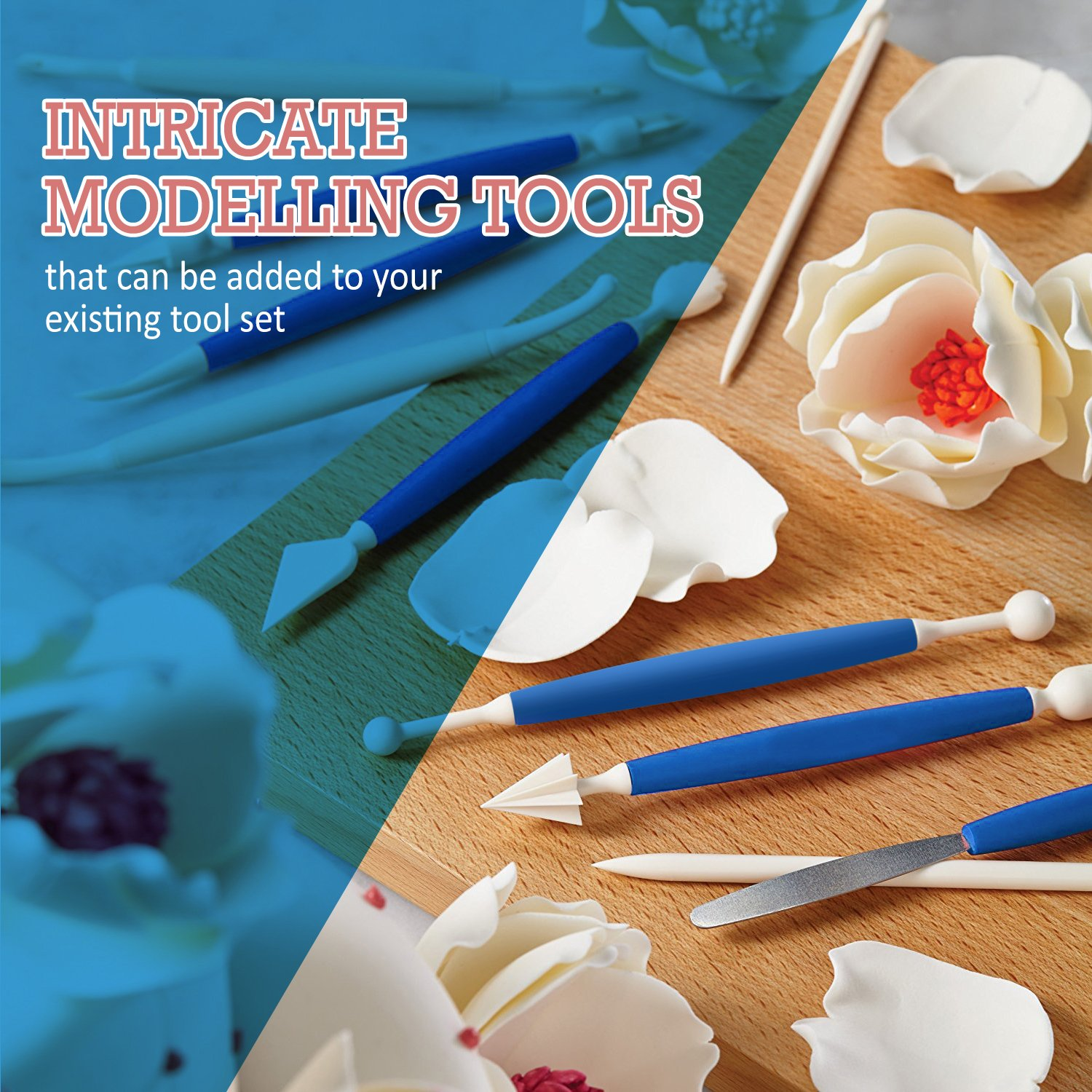 Frostinc Perfectly Assorted Cake Decorating Supplies 34 Pcs Kit - 10 Russian & Cone Icing Tips with 2 Couplers, 2 Reusable & 6 Disposable Piping Bags, 8 Model Tools, Scrapers & BONUS Items by Frostinc (Image #6)