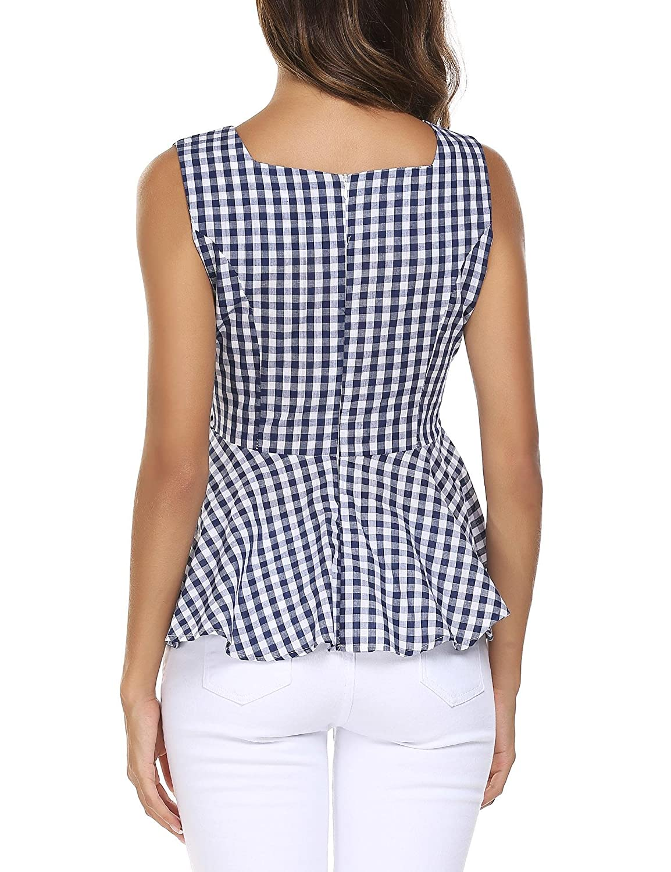 441bba30b Meaneor Women Slim Fit Plaid Office Tank Peplum Top Blue XXL: Amazon.ca:  Clothing & Accessories