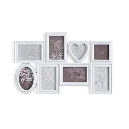 MONTEMAGGI Shabby Chic Multiple Photograph Wall Frame with 8 PVC ...