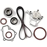 OCPTY Timing Belt Tensioner Bearing Water Pump with Gasket Complete Timing Valve Cover Gaskets Kit Fit 2004-2008 Kia Spectra Sportage 2.0L