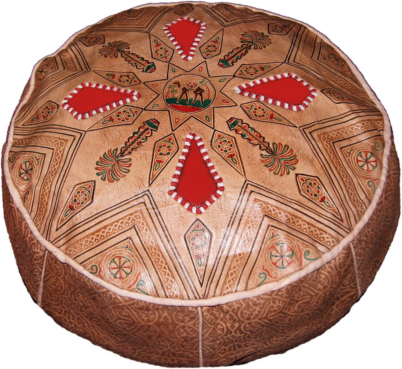 Moroccan Poofs Hand Made 100 Leather Ottoman Comfortable Round Design Foot Stool - the best ottoman chair for the money
