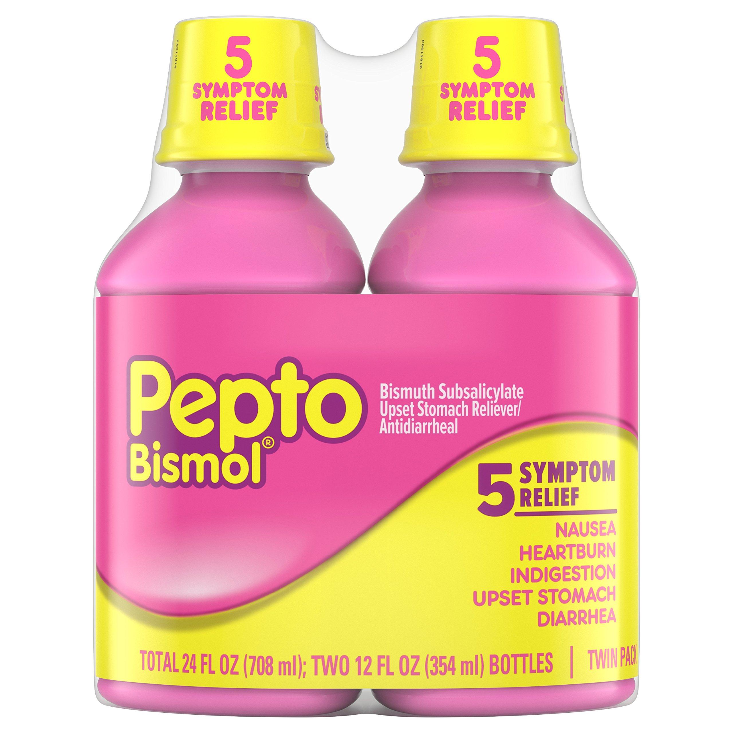 Pepto Bismol Liquid, Upset Stomach Relief, Bismuth Subsalicylate, Multi-Symptom Relief of Gas, Nausea, Heartburn, Indigestion, Upset Stomach, Diarrhea, Twin Pack 12 OZ Liquid