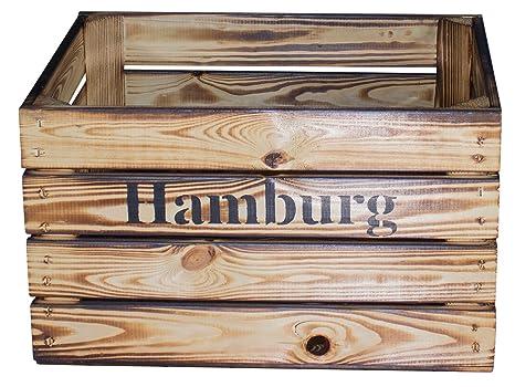 Vintage Möbel 24 GmbH Juego de 2 gefla Naturaleza Caja con inscripción Hamburgo Aufdruck/