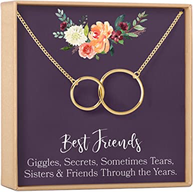 gold-plated-brass, NA Friends Forever Soul Sisters Gift Necklace: Best Friends 2 Interlocking Circles BFF Long Distance