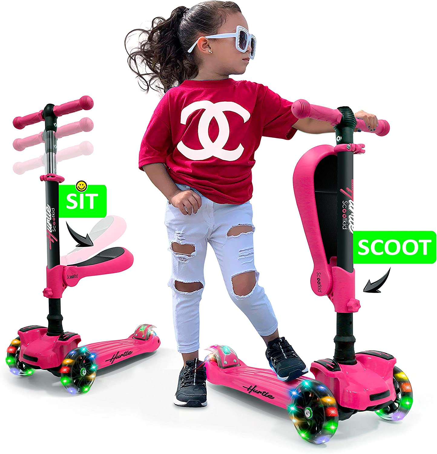 Hurtle 3 Wheeled Scooter for Kids – 2-in-1 Sit Stand Child Toddlers Toy Kick Scooters w Flip-Out Seat, Adjustable Height, Wide Deck, Flashing Wheel Lights, for Boys Girls 1 Year Old HURFS66 Pink
