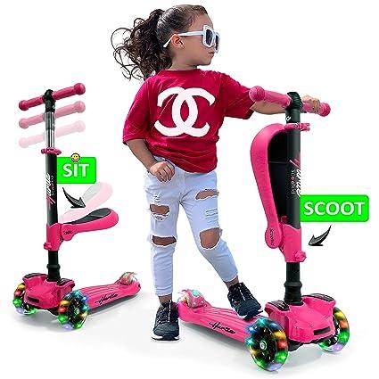Hurtle Patinete de 3 ruedas para niños - 2 en 1 sentado ...
