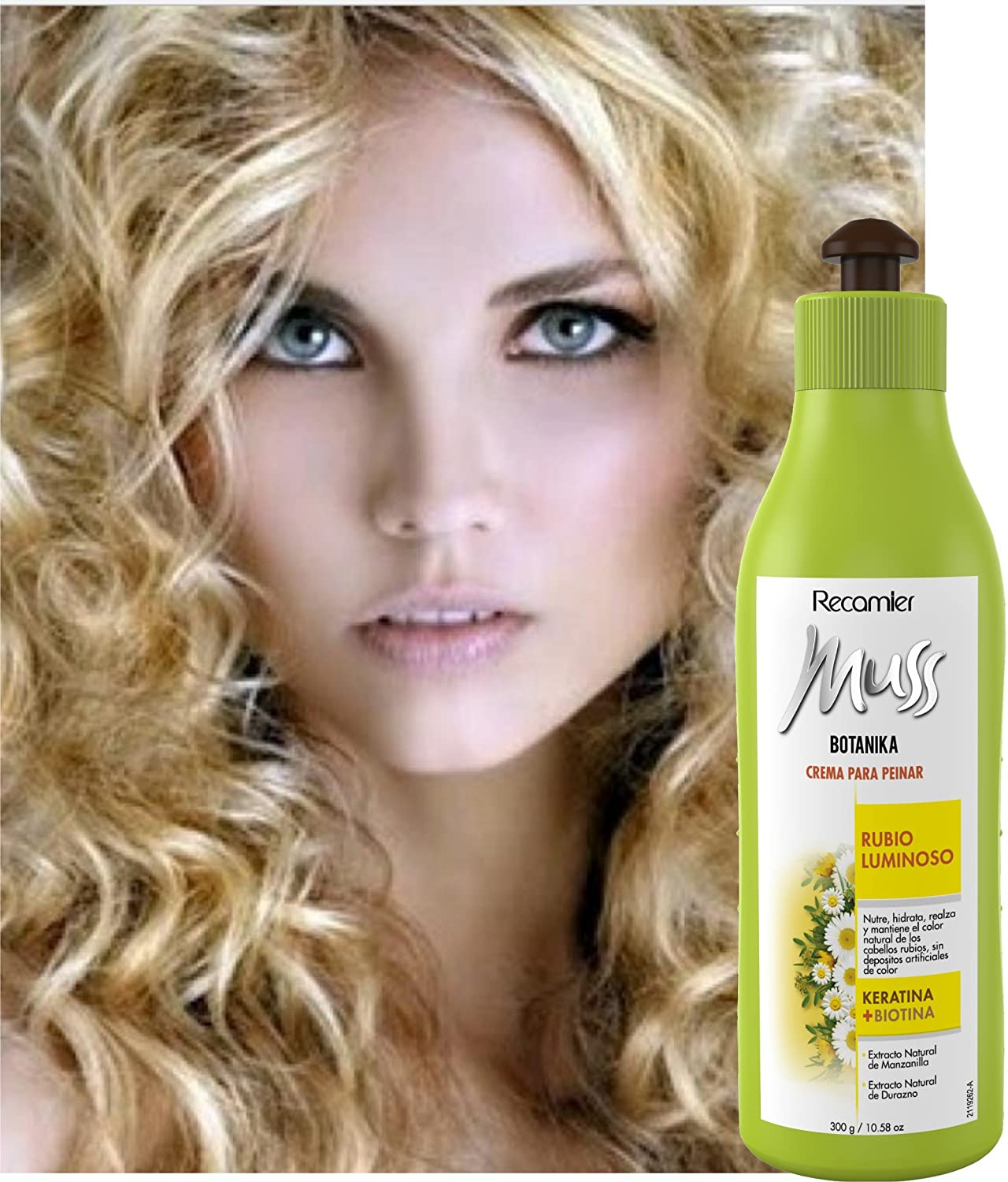 Amazon.com : MUSS BOTANIKA RUBIO LUMINOSO CREMA PARA PEINAR / Combing cream for blonde hair. leave in with keratin and biotin 300gr/10.5oz : Beauty