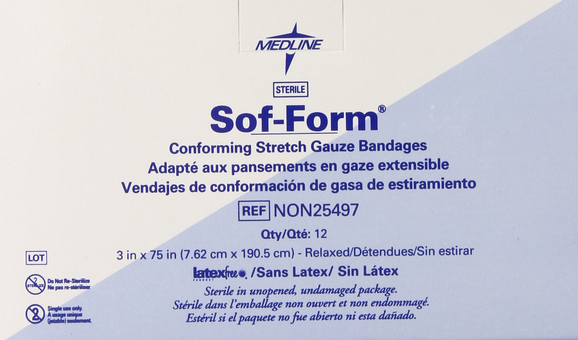 Medline Bandage Gauze Sof-form 3 Inch x 75 Inch, 96 Count by Medline