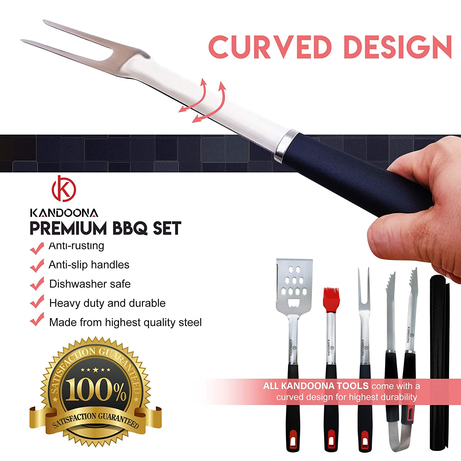 KANDOONA Grill Utensils Set – Heavy Duty Stainless Steel Grilling Tools – Spatula, Fork, Tongs, Basting Brush, Grill Mat – Premium Barbecue Tools – Grill Tools with Gift Box