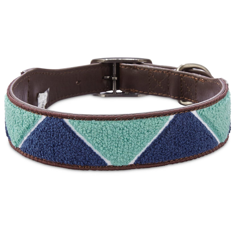 Large X-Large Bond & Co. Geometric Triangle bluee Dog Collar, for Neck Sizes 18-21, Large Extra Large, Large X-Large