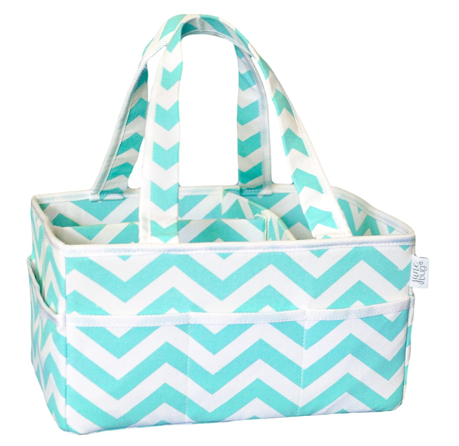 June Bug Portable Diaper Storage Caddy - Home, Car, and Nursery Organizer - Changing Table Diaper Basket and Stacker - Unisex Turquoise Chevron Design