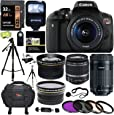 Canon EOS Rebel T6i Digital SLR EF-S 18-55mm IS STM Lens + Canon EF-S 55-250mm + Polaroid 58mm .43x Wide Angle & 2.2X Lenses + 32GB 633x + Tripods + 58mm Filter + Accessory Kit