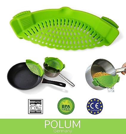 Abtropfhilfe Johns Kitchen Universal Topfsieb//Pfannensieb mit Clips BPA-frei Hochwertiges Silikon