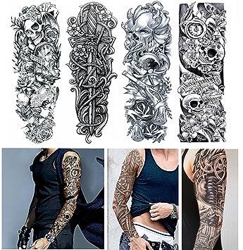 Amazon.com: 4-Sheets Large Temporary Tattoo Paper Arm Tattoos Rock ...