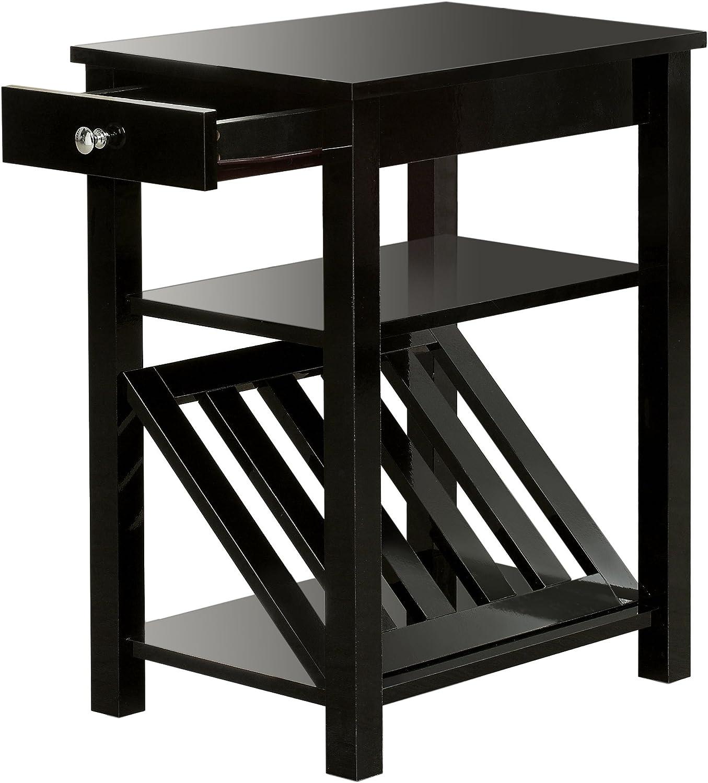 Furniture of America Erhart II 1-Drawer Side Table with Magazine Rack, Black