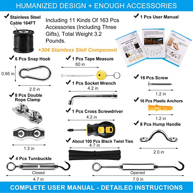 Use Manual,Free Gifts,Humanized Collocation,Easy to Install String Lights Suspension Kit Included Enough Accessories String Light Hanging Kit with 164 Ft Nylon Coated Stainless Steel 304 Wire Rope