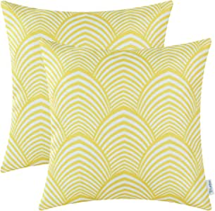 Pack of 2 CaliTime Soft Canvas Throw Pillow Covers Cases for Couch Sofa Home Decor, Modern Petaloid Waves Chain Print, 18 X 18 Inches, Yellow