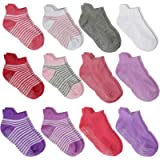 WELMOR Anti Slip Non Skid Ankle Socks With Grips for Baby Toddler Kids Boys Girls 12 Pairs