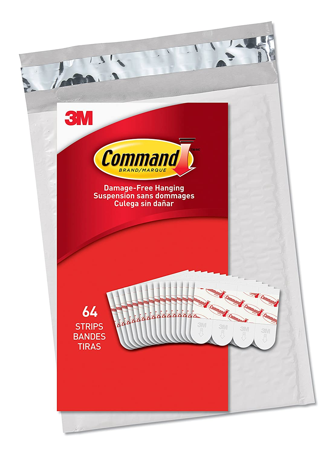 Command Small Refill Strips White 64 Strips GP022 64NA Easy to Open Packaging