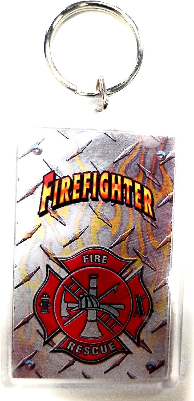"HP Industries Fire Department 2x3 Acrylic Keychain w/1"" Keyring Decal Logo Emblem Firefighter"