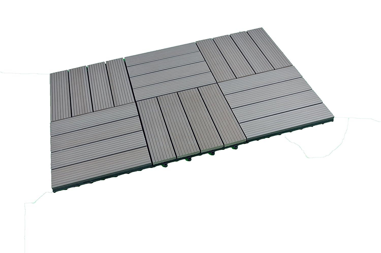 WPC   Macizo   Gris   30 x 30 cm   SORARA   6 azulejos una caja   madera plástico compuesto para jardín y terraza con sistema de clic