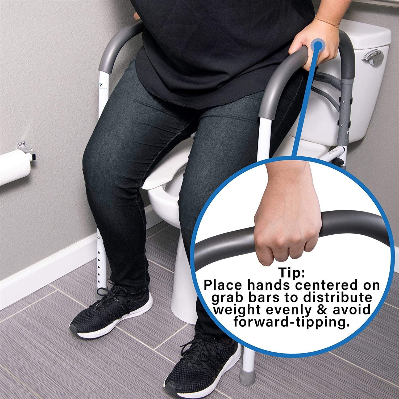 Vaunn Deluxe Bathroom Safety Toilet Rail  Adjustable Toilet Safety Frame  Medical Handrail Assist
