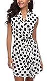 MISS MOLY Women's Polka Dot Crossover V-Neck Sleeveless & 3/4 Sleeve Wrap Dress